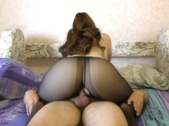 Teen Big Ass in Nylon Pantyhose StepSister Pussyjob